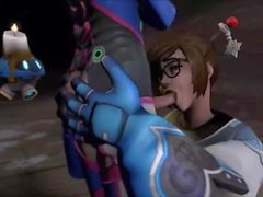 D. Va Gets Her Big Futa Cock Sucked By Mei