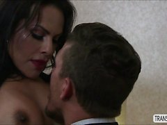 TS Foxxy fucks male stud in her room