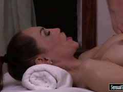Busty tgirl receives massage and fucked in her asshole